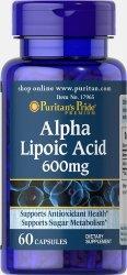 Kwas Alfa Liponowy 600 mg, Puritan's Pride, 60 kapsułek