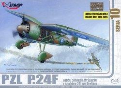 Mirage 48107 1/48 PZL P.24F Grecki Samolot Myśliwski z działkiem 20 mm Oerlikon [zawiera części z Białego Metalu]