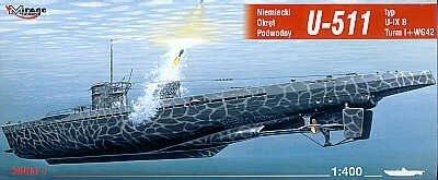 Mirage 40042 1/400 U-511 typ U-IX B Turm I + WG42 niemiecki okręt podwodny