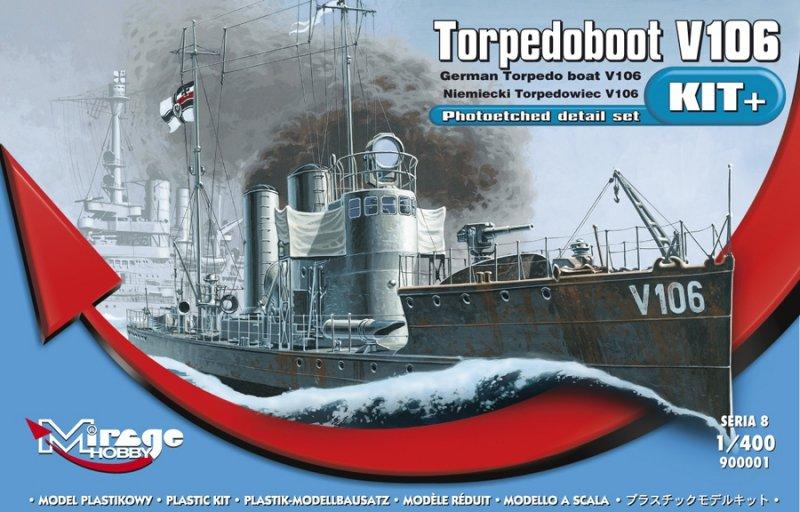 Mirage 900001 1/400 'V106 Torpedoboot' Niemiecki Torpedowiec [NOWA seria profi-model KIT+]
