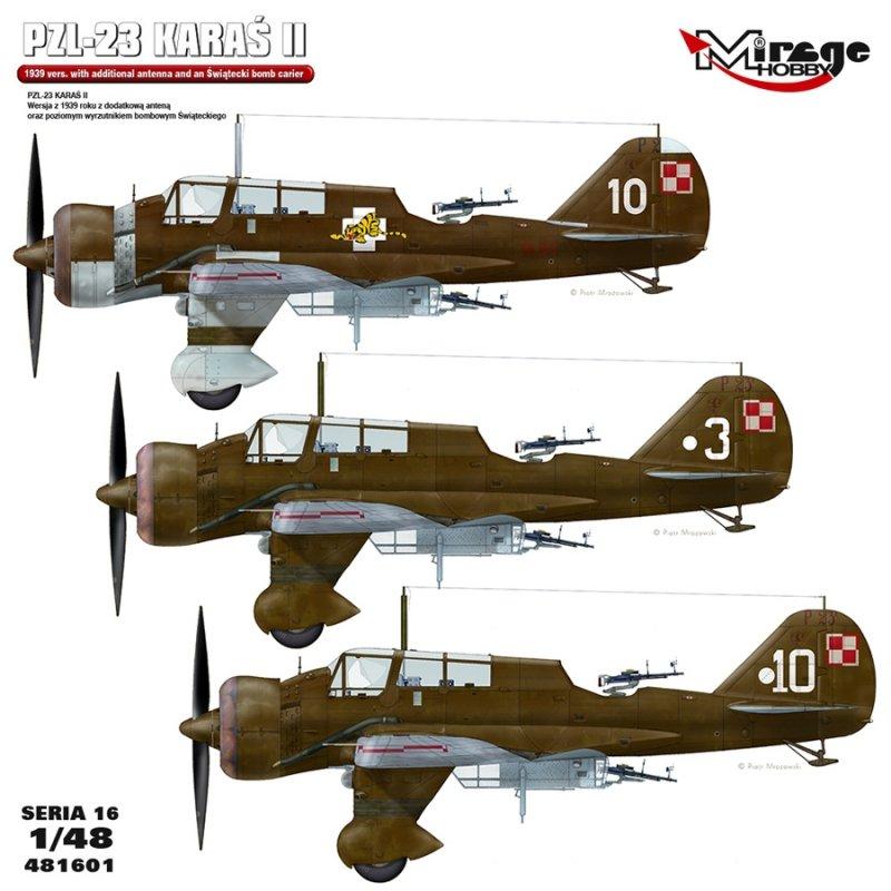 Mirage 481601 1/48 PZL P-23 Karaś II . Wersja z 1939 roku z dodatkową anteną oraz poziomym wyrzutnikiem Świąteckiego [Profi Set]