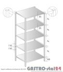 Regał z półkami przestawnymi DM 3321 szerokość: 700 mm, wysokość: 2000 mm  (600x700x2000)