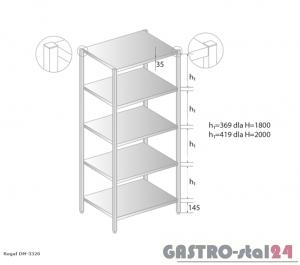 Regał magazynowy DM 3320 szerokość: 500 mm, wysokość: 1800 mm  (600x500x1800)