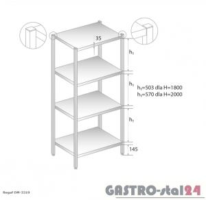 Regał magazynowy z półkami pełnymi DM 3319 szerokość: 400 mm, wysokość: 1800 mm (600x400x1800)