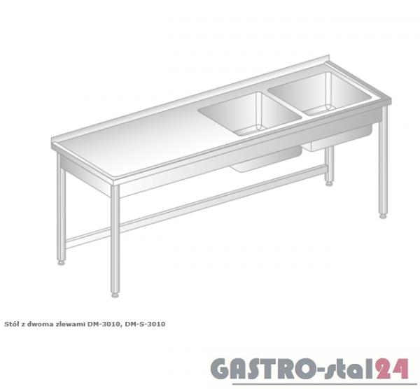 Stół z dwoma zlewami DM 3010 szerokość: 700 mm (1400x700x850)