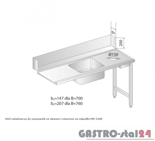 Stół załadowczy do zmywarek ze zlewem i otworem na odpadki DM 3268 szerokość: 700 mm (1200x700x850)
