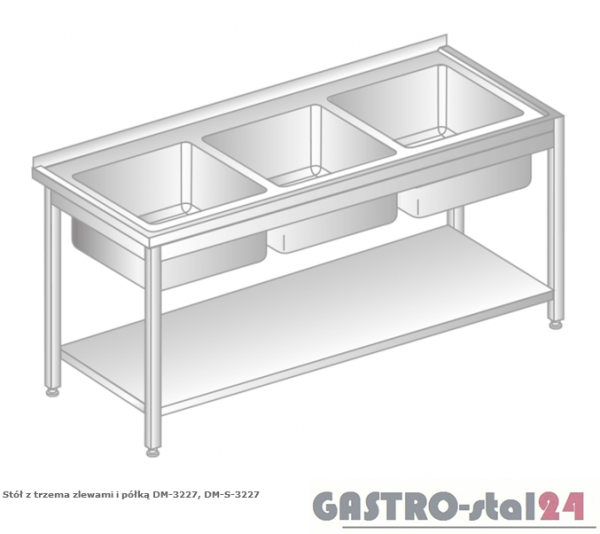 Stół z trzema zlewami i półką DM 3227 szerokość: 700 mm (1600x700x850)