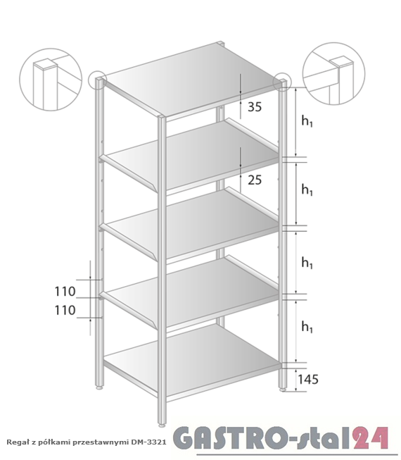 Regał z półkami przestawnymi DM 3321 szerokość: 600 mm, wysokość: 1800 mm  (600x600x1800)