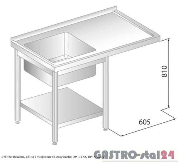 Stół ze zlewem, półką i miejscem na zmywarkę DM 3272 szerokość: 700 mm (1200x700x850)