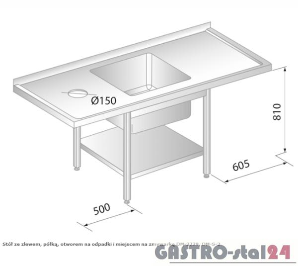 Stół ze zlewem, półką, otworem na odpadki i miejscem na zmywarkę DM 3229 szerokość: 700 mm (1700x700x850)
