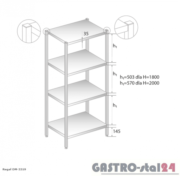 Regał magazynowy z półkami pełnymi DM 3319 szerokość: 700 mm, wysokość: 1800 mm  (600x700x1800)