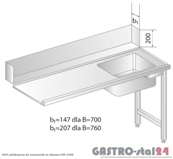 Stół załadowczy do zmywarek ze zlewem DM 3266 szerokość: 700 mm (1000x700x850)