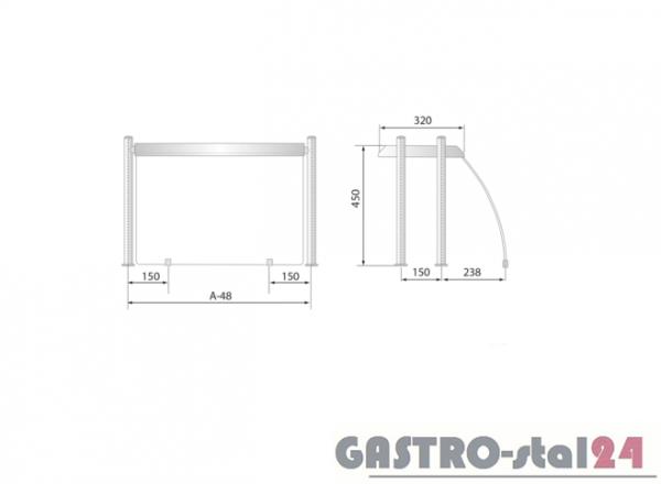 Nadstawka z grzaniem i oświetleniem DM 94580 G 1204x480x480
