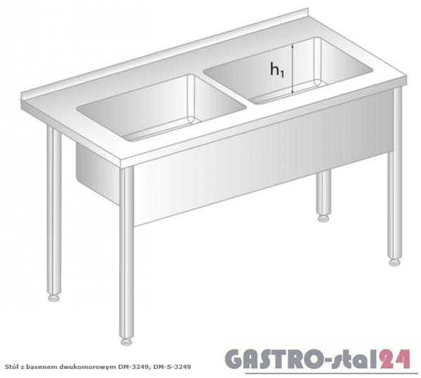 Stół z basenem dwukomorowym DM 3249 szerokość: 600 mm, głębokość: 400 mm (1200x600x850)