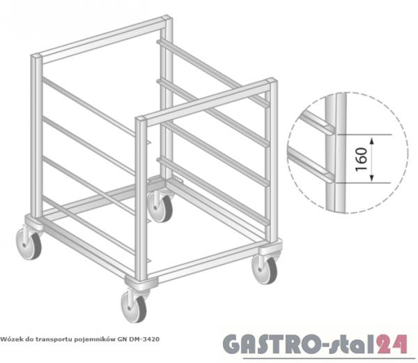 Wózek do transportu pojemników 2/1GN DM 3420 szerokość: 700 mm  (603x700x850)