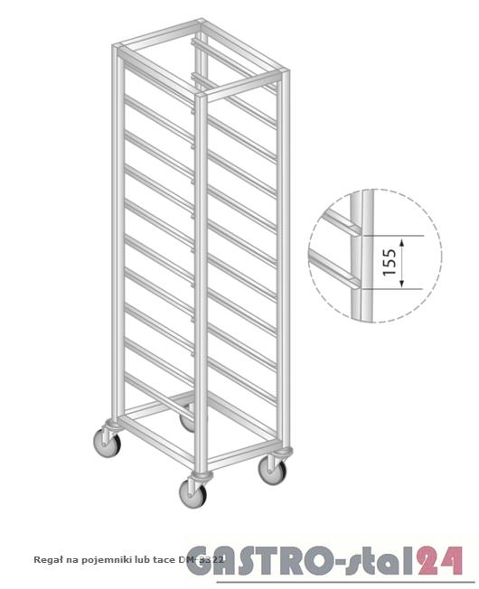 Regał na pojemniki lub tace na kółkach DM 3322/K   szerokość: 550 mm, wysokość: 1800 mm  (400x550x1800)
