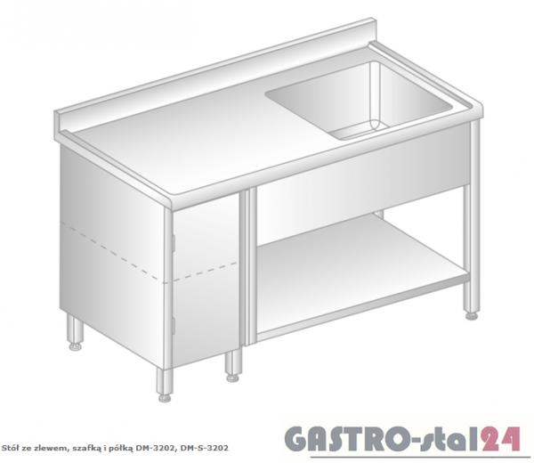 Stół ze zlewem, szafką i półką DM 3202 szerokość: 700 mm (1000x700x850)