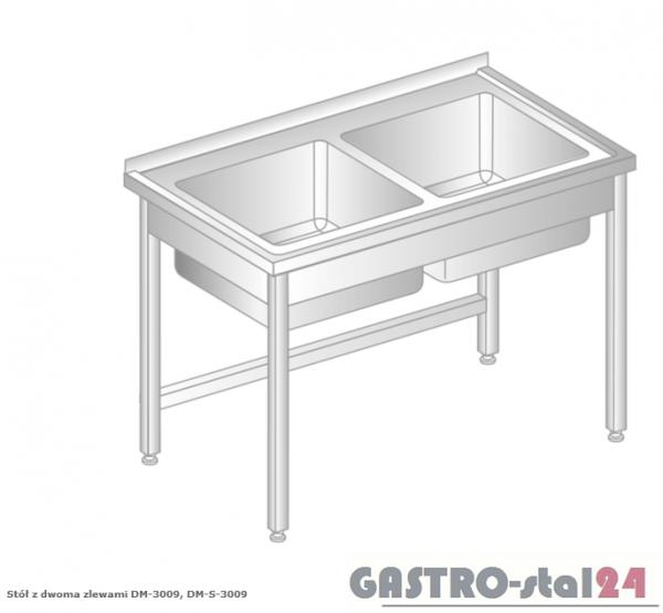 Stół z dwoma zlewami DM 3009 szerokość: 700 mm (1000x700x850)