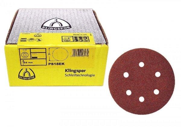 Krążek ścierny, przyczepny na rzep Klingspor 270451 PS 18 EK 150mm g. 100
