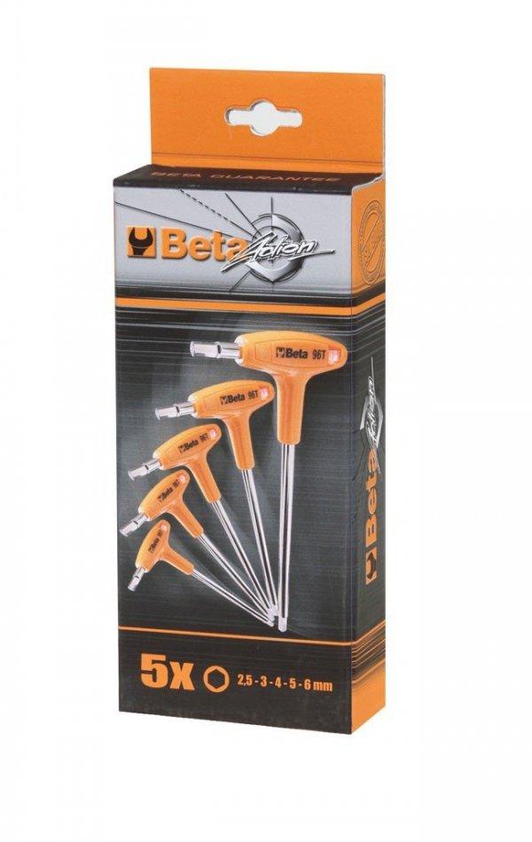 Komplet 5 kluczy trzpieniowych kątowych sześciokątnych z rękojeścią BETA 96T/S5P