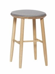Hübsch OBAR Krzesło Barowe 52 cm Hoker Dębowy z Szarym Siedziskiem