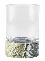 Villa Collection HURRICANE Świecznik Marmurowy ze Szklanym Kloszem