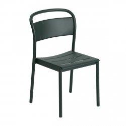 Muuto LINEAR SIDE Krzesło Metalowe - Ciemnozielone