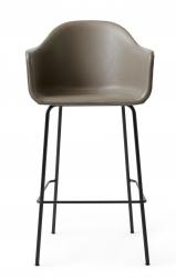 Menu HARBOUR Krzesło Barowe 112 cm Hoker Czarny - Siedzisko Skóra Naturalna Szarobeżowa
