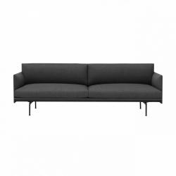 Muuto OUTLINE Sofa 3-Osobowa - Ciemnoszara - Tkanina Remix 163 / Czarne Nogi
