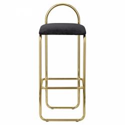 AYTM - ANGUI Hoker - Krzesło Barowe 82,5 cm Złote z Grafitowym Siedziskiem