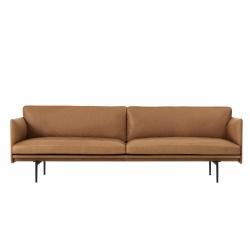 Muuto OUTLINE Sofa 3-Osobowa - Brązowa Skóra / Czarne Nogi