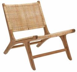 Villa Collection LOUNGE Fotel z Drewna Tekowego z Siedziskiem z Plecionego Rattanu