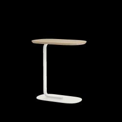 Muuto RELATE Stolik Pomocniczy - Boczny 60,5 cm Biały / Blat Dąb Naturalny
