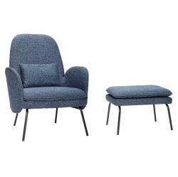 Hübsch SCANDI Fotel Tapicerowany z Podnóżkiem - Niebieski