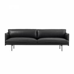 Muuto OUTLINE Sofa 3-Osobowa - Czarna Skóra / Czarne Nogi