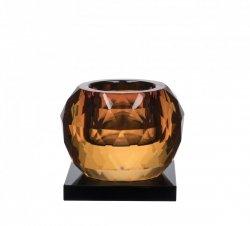 Lyngby Glass KRYSTAL Kryształowy Świecznik Tealight - Amber / Czarna Podstawa