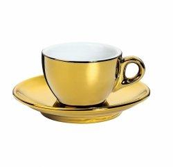 Cilio ROMA Filiżanka ze Spodkiem do Kawy 50 ml Złota