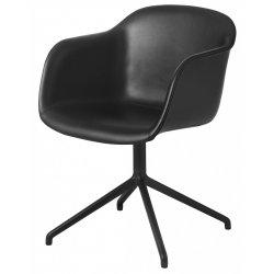Muuto FIBER ARMCHAIR SWIVEL BASE Krzesło Obrotowe - Czarne - Siedzisko Tapicerowane Czarną Skórą / Metalowa Rama