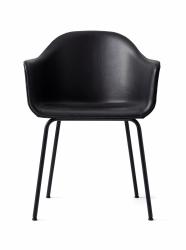 Menu HARBOUR Krzesło - Rama Czarna - Skóra Naturalna Czarna
