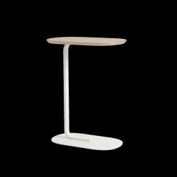Muuto RELATE Stolik Pomocniczy - Boczny 73,5 cm Biały / Blat Dąb Naturalny