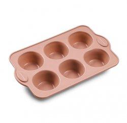 Blomsterbergs BAKE Silikonowa Forma do 6 Muffinów - Różowa