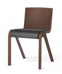 Menu READY Krzesło Drewniane Tapicerowane - Ciemny Dąb / Siedzisko Czarna Skóra Dakar 0842