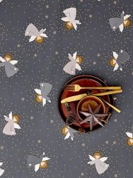 Sodahl CHRISTMAS Obrus Świąteczny na Stół 140x320 cm Szary z Aniołami