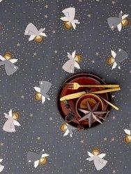 Sodahl CHRISTMAS Obrus Świąteczny na Stół 140x220 cm Szary z Aniołami