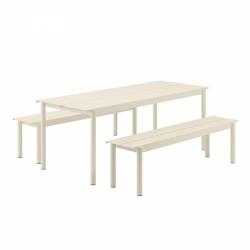 Muuto LINEAR Zestaw Mebli Ogrodowych - Stół 200 cm + 2 Ławki - Biały