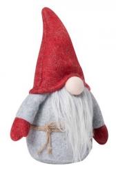 Sodahl CHRISTMAS Świąteczny Elf Dekoracyjny 18 cm Szaro-Czerwony