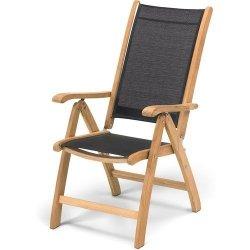 Skagerak COLUMBUS  Fotel - Krzesło Ogrodowe Składane - Tek/Tkanina Czarna