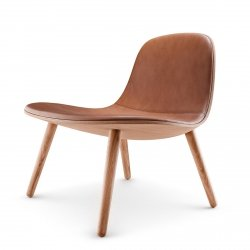 Eva Solo ABALONE Fotel Lounge Drewniany / Siedzisko Brązowa Skóra - Dąb Naturalny