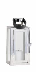 Villa Collection NORDIC Lampion ze Skórzanym Uchwytem 23 cm Srebrny
