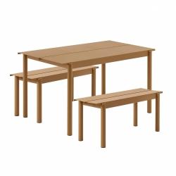 Muuto LINEAR Zestaw Mebli Ogrodowych - Stół 140 cm + 2 Ławki - Pomarańczowy